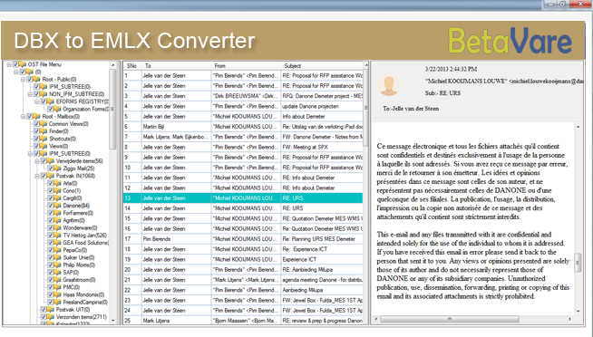BetaVare Export DBX to EMLX application full screenshot