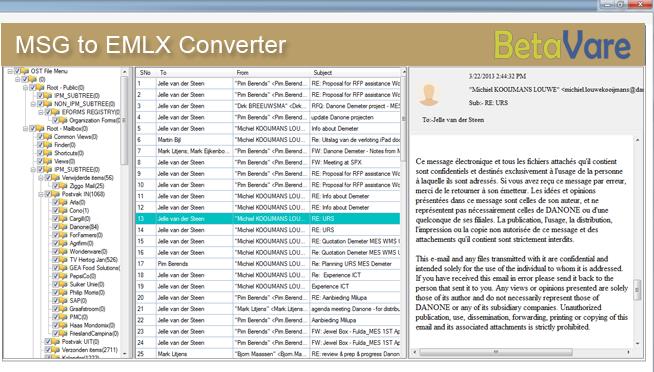 BetaVare MSG TO EMLX Converter full screenshot