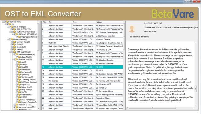 BetaVare OST to EML Converter full screenshot