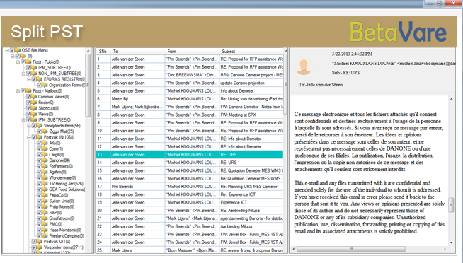 BetaVare Split PST Tool full screenshot