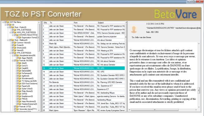 BetaVare TGZ to PST Exporter full screenshot